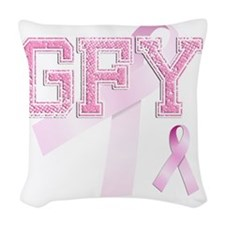 GFY initials, Pink Ribbon, Woven Throw Pillow