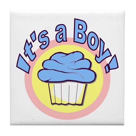 It's a Boy Cupcake Tile Coaster