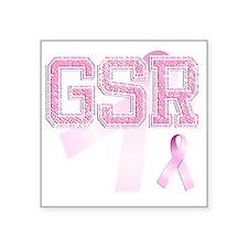 """GSR initials, Pink Ribbon, Square Sticker 3"""" x 3"""""""
