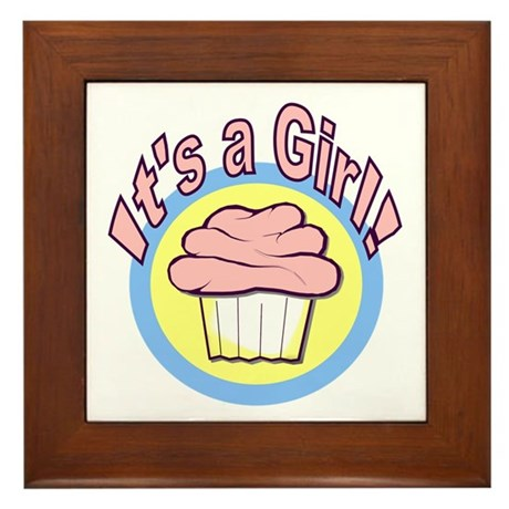 It's a Girl Cupcake Framed Tile