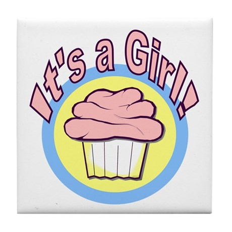 It's a Girl Cupcake Tile Coaster