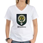 Johnstone Clan Crest Tartan Women's V-Neck T-Shirt