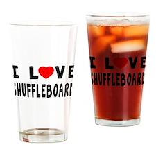 I Love Shuffleboard Drinking Glass