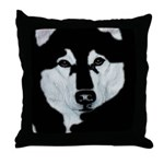 Malamute Black & White Throw Pillow