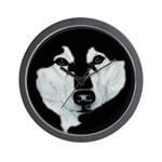 Malamute Black & White Wall Clock