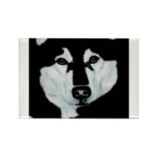 Malamute Black & White Rectangle Magnet