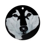 Malamute Black & White Ornament (Round)