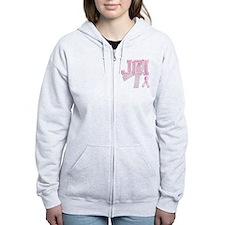 JCI initials, Pink Ribbon, Zip Hoodie