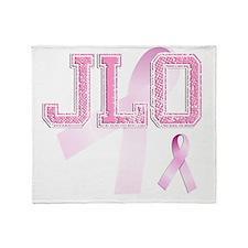JLO initials, Pink Ribbon, Throw Blanket