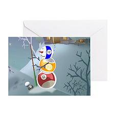 Billiards Ball Snowman Greeting Card