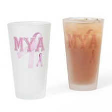 MYA initials, Pink Ribbon, Drinking Glass