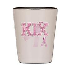 KIX initials, Pink Ribbon, Shot Glass