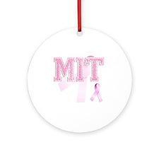 MIT initials, Pink Ribbon, Round Ornament