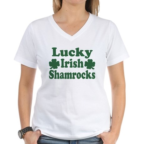 Lucky Irish Shamrocks Women's V-Neck T-Shirt