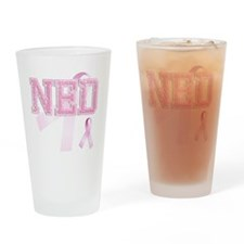 NED initials, Pink Ribbon, Drinking Glass
