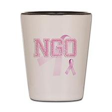 NGO initials, Pink Ribbon, Shot Glass
