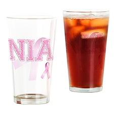 NIA initials, Pink Ribbon, Drinking Glass