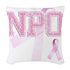 NPO initials, Pink Ribbon, Woven Throw Pillow