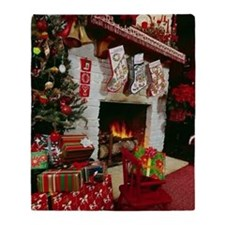 Traditinal Christmas Fireplace Throw Blanket