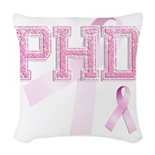 PHD initials, Pink Ribbon, Woven Throw Pillow