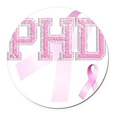 PHD initials, Pink Ribbon, Round Car Magnet