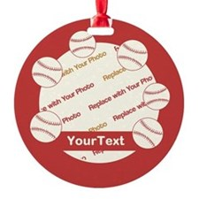 CUSTOMIZE Baseball Photo And Text Ornament
