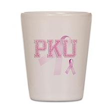 PKU initials, Pink Ribbon, Shot Glass