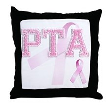 PTA initials, Pink Ribbon, Throw Pillow