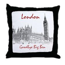 London_10x10_BigBen_Goodbye_BrownBlac Throw Pillow