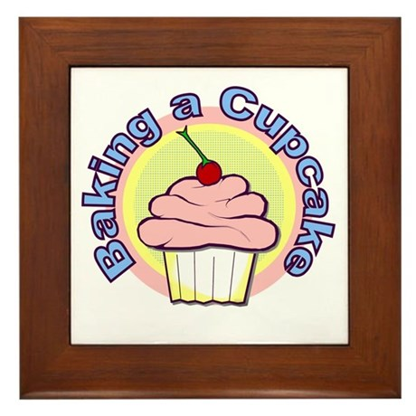 Baking a Cupcake Framed Tile