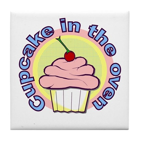 Cupcake in the Oven Tile Coaster