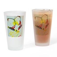 Crayon Butterfly Drinking Glass