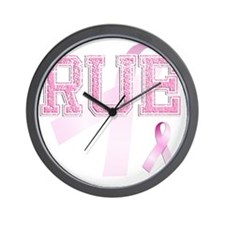 RUE initials, Pink Ribbon, Wall Clock