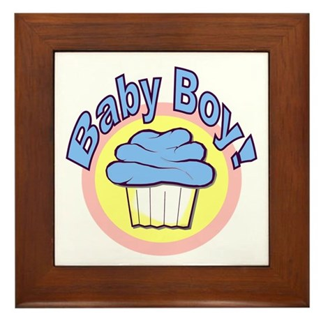 Baby Boy Cupcake Framed Tile