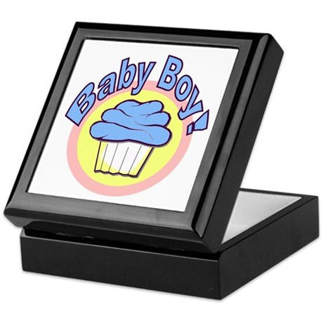 Baby Boy Cupcake Keepsake Box
