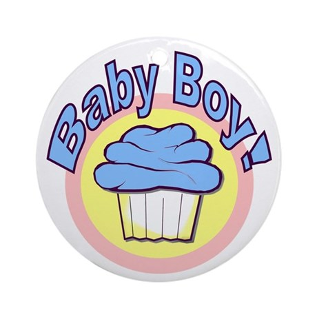 Baby Boy Cupcake Ornament (Round)