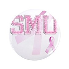 "SMU initials, Pink Ribbon, 3.5"" Button"