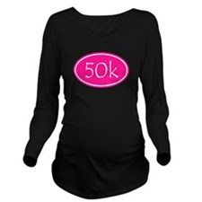 Pink 50k Oval Long Sleeve Maternity T-Shirt