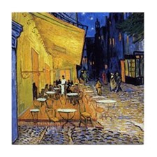 Cafe Terrace at Night by Vincent van Gogh Tile Coa