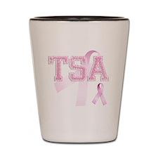 TSA initials, Pink Ribbon, Shot Glass