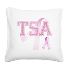 TSA initials, Pink Ribbon, Square Canvas Pillow