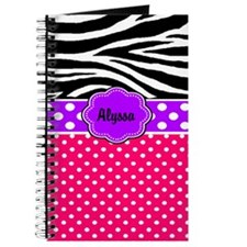 Pink Purple Dots Zebra Monogram Journal