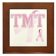 TMT initials, Pink Ribbon, Framed Tile