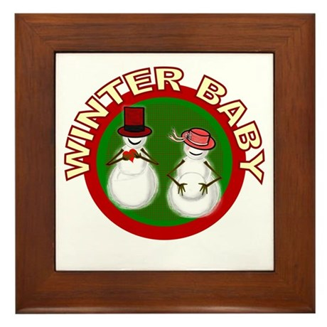 Winter Baby Snowman Framed Tile