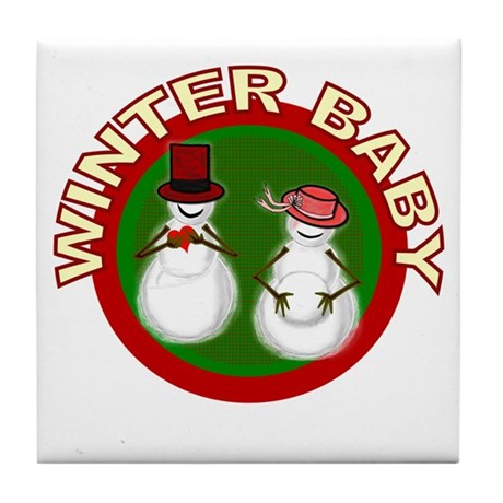Winter Baby Snowman Tile Coaster