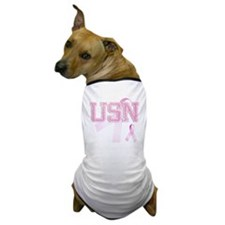 USN initials, Pink Ribbon, Dog T-Shirt