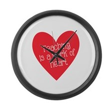 Red Teacher Heart Large Wall Clock