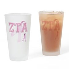 ZTA initials, Pink Ribbon, Drinking Glass