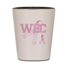 WEC initials, Pink Ribbon, Shot Glass