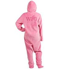 WFO initials, Pink Ribbon, Footed Pajamas